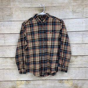 Eddie Bauer Vintage Flannel Plaid Button Shirt XL